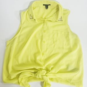 Neon Yellow Tie Front Button Up Tank Size L